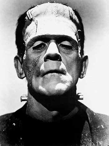 Caption: Promotional photo of Boris Karloff from The Bride of Frankenstein as Frankenstein's monster., Credit: Source: Wikimedia Commons