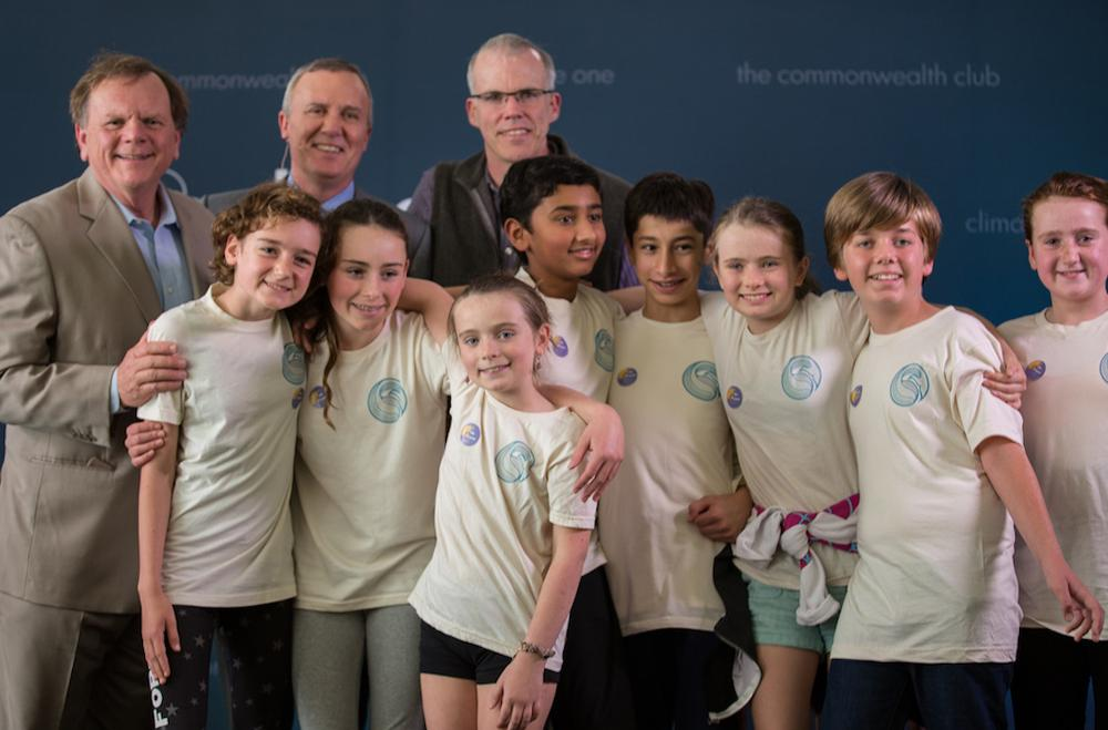 Caption: Terry Tamminen, Greg Dalton, Bill McKibben with young audience members