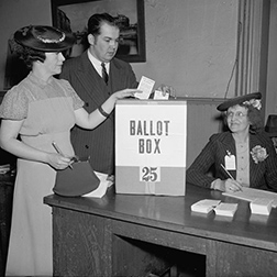 Caption: Source: Library of Congress, Credit: Voting in Washington, D.C., 1938