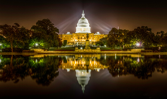 Caption: The U.S. Capitol Building lit up at night., Credit: Tony Brooks/Flickr