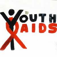 Caption: Youth AIDS logo graffiti on wall