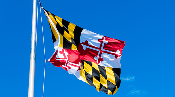 Caption: The Maryland state flag flaps in the wind against a nearly cloudless blue sky., Credit: Thad Zajdowicz/Flickr