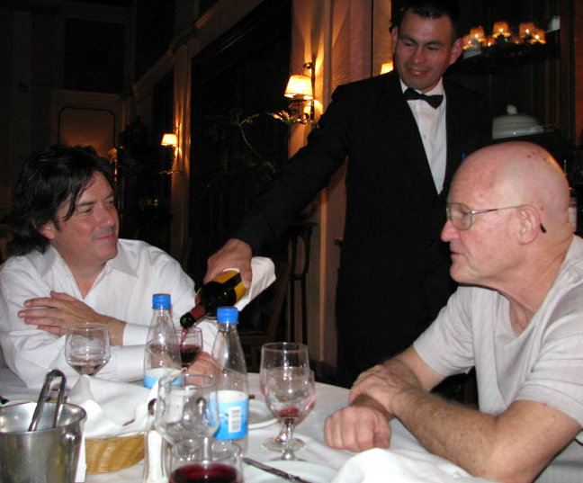 "Caption: Tony Morris, (waiter at Gran Hotel of Paraguay), Richard Stover. author of ""Six Silver Moonbeams"", Credit: Carlos Salcedo Centurion"