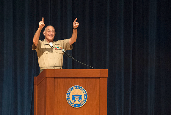 Caption: U.S. Marine Corps Gen. John F. Kelly Commander of U.S. Southern Command speaks to the Corps of Cadets at the U.S. Coast Guard Academy., Credit: US Coast Guard Academy/Flickr