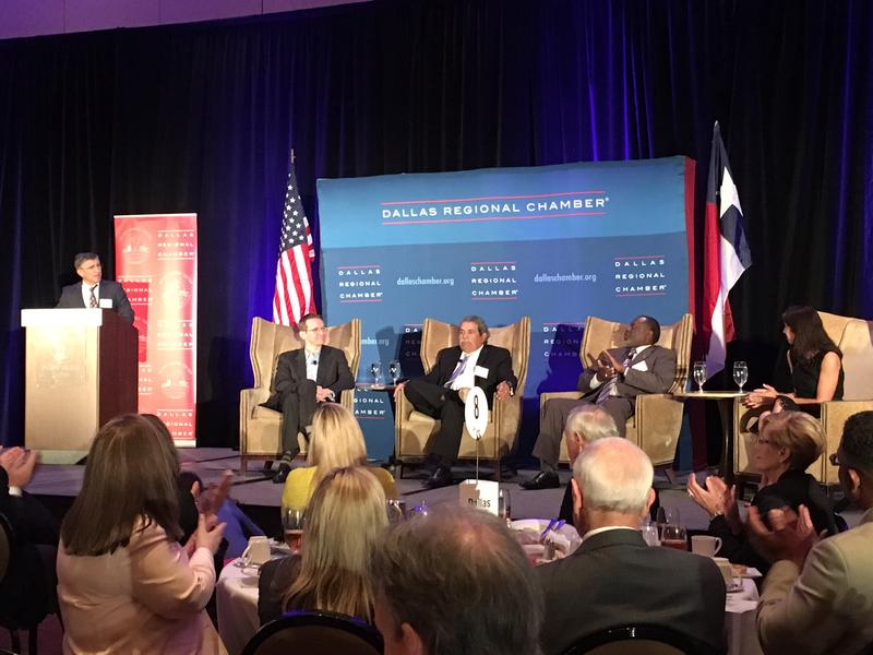 Caption: Texas Commissioner of Education Mike Morath spoke at the Dallas Regional Chamber. He was joined by Dallas ISD Superintendent Michael Hinojosa, Desoto ISD Superintendent David Harris and Uplift CEO Yasmin Bhatia., Credit: Stella M. Chavez