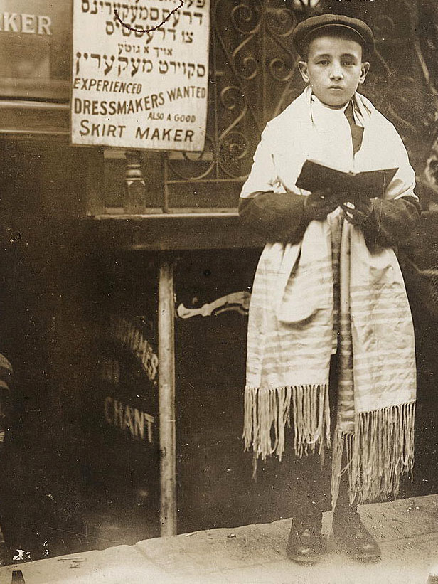 Caption: Boy in prayer shawl, 1911.
