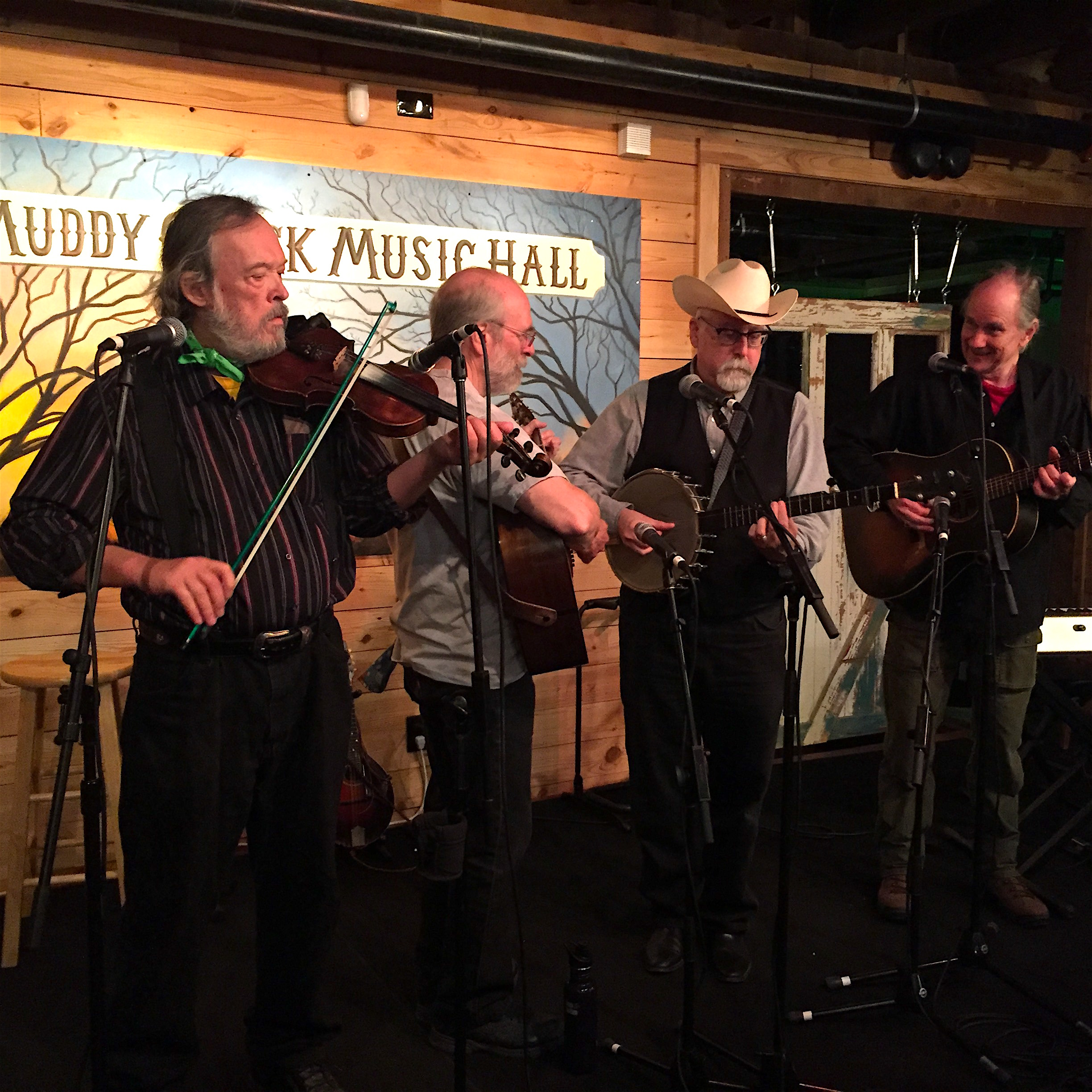 Caption: (l-r) Bill Hicks, Jim Watson, Joe Newberry and Mike Craver present old time songs, fiddle tunes, and songs from popular plays they've performed in and produced.  , Credit: Paul Brown