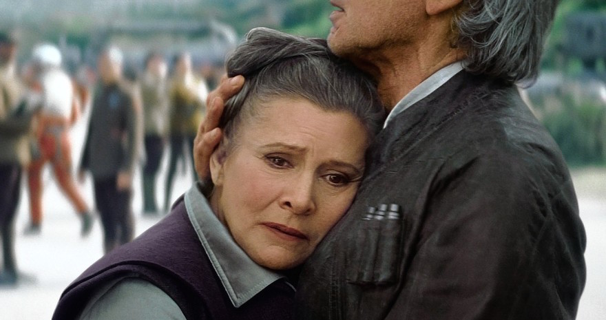 "Caption: Carrie Fisher as Leia and Harrison Ford as Han Solo in ""The Force Awakens"", Credit: Lucasfilm"