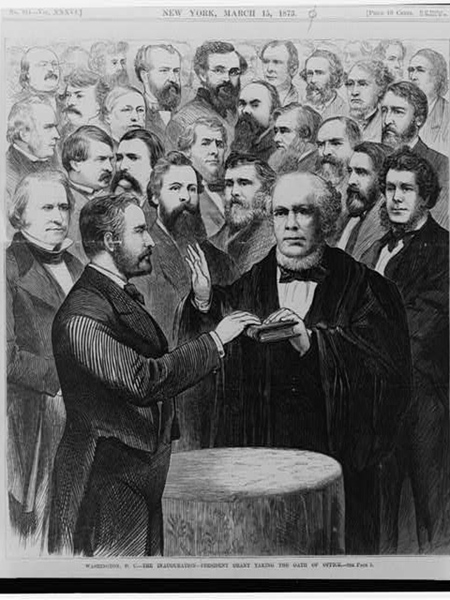 Caption: President Grant taking the oath of office, March 4, 1873., Credit: Source: Library of Congress
