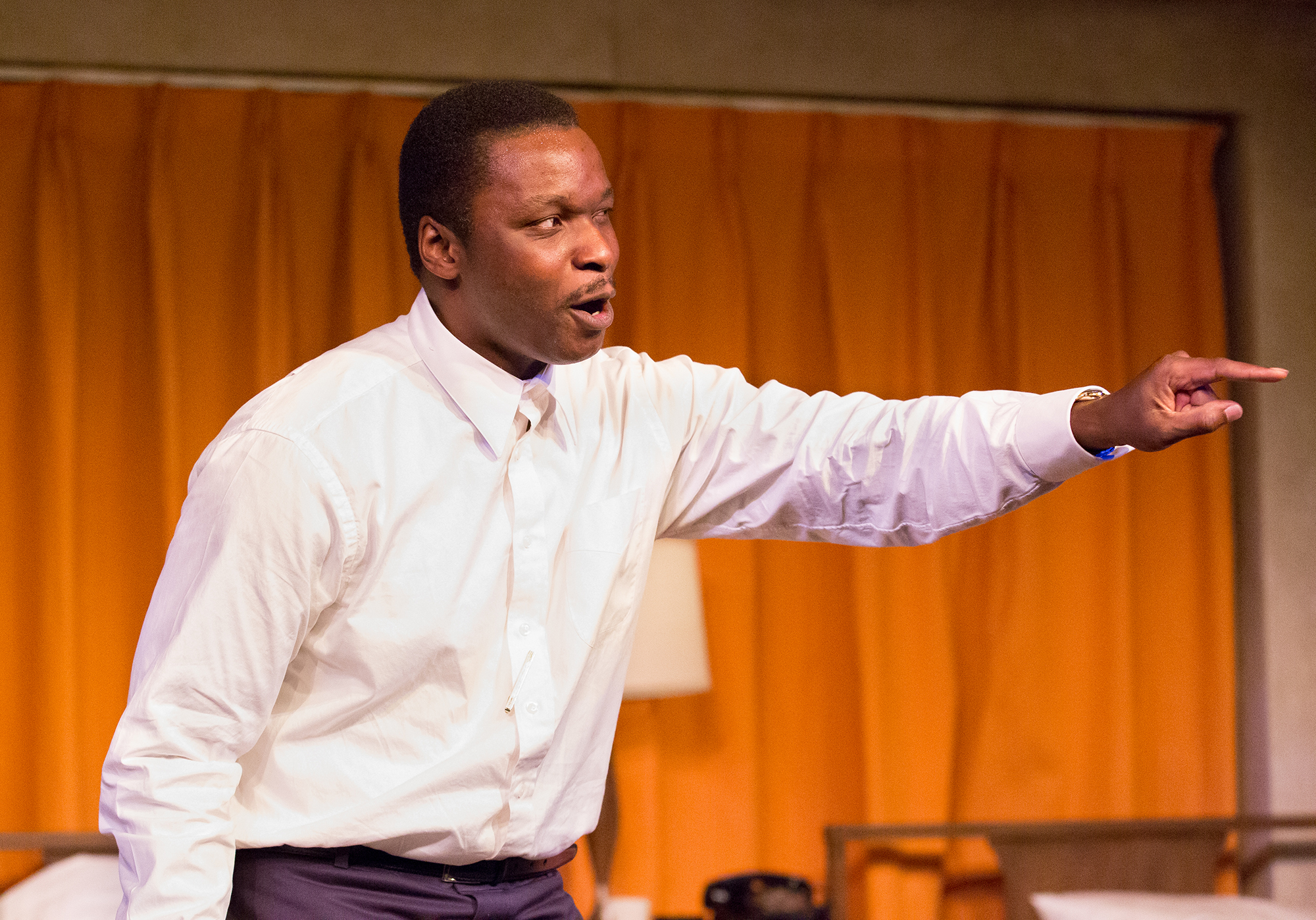 Caption: Bowman Wright as Dr. Martin Luther King Jr. in The Mountaintop , Credit: Mark Garvin