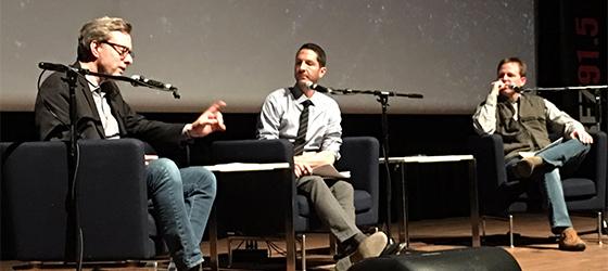 Caption: Michael Phillips, Josh Larsen & Adam Kempenaar at Filmspotting's 2016 Wrap Party Live