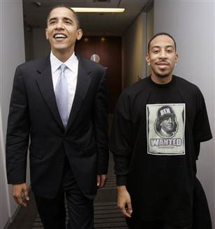 Caption: Barack Obama and Ludacris, meeting in 2006 in Chicago, Credit: Charles Rex Arbogast, AP