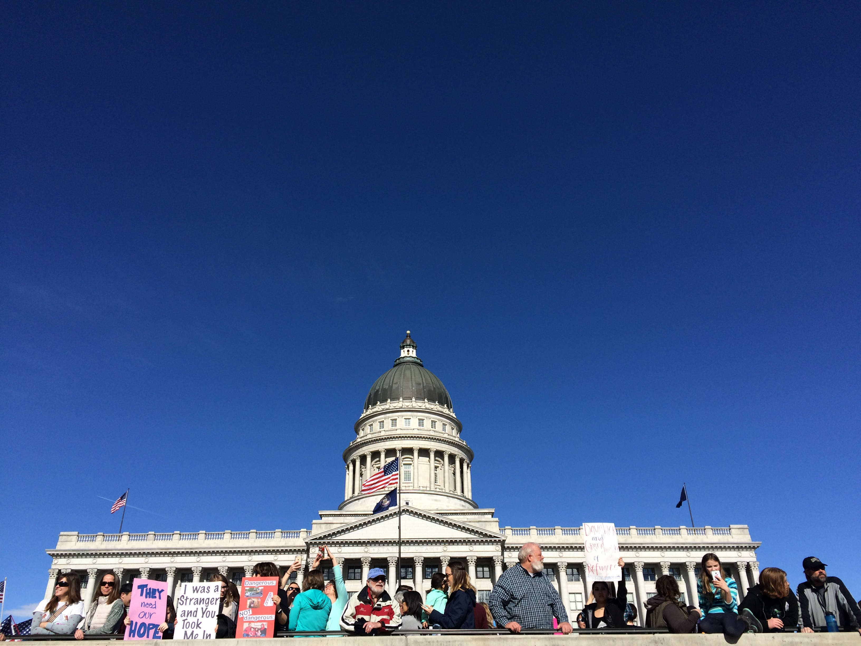Caption: Marchers gather in front of the Utah State Capitol, Credit: Tamarra Kemsley