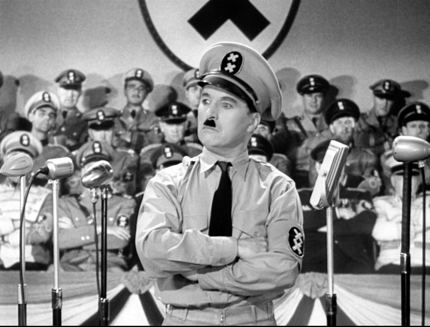 Caption: Charlie Chaplin in The Great Dictator