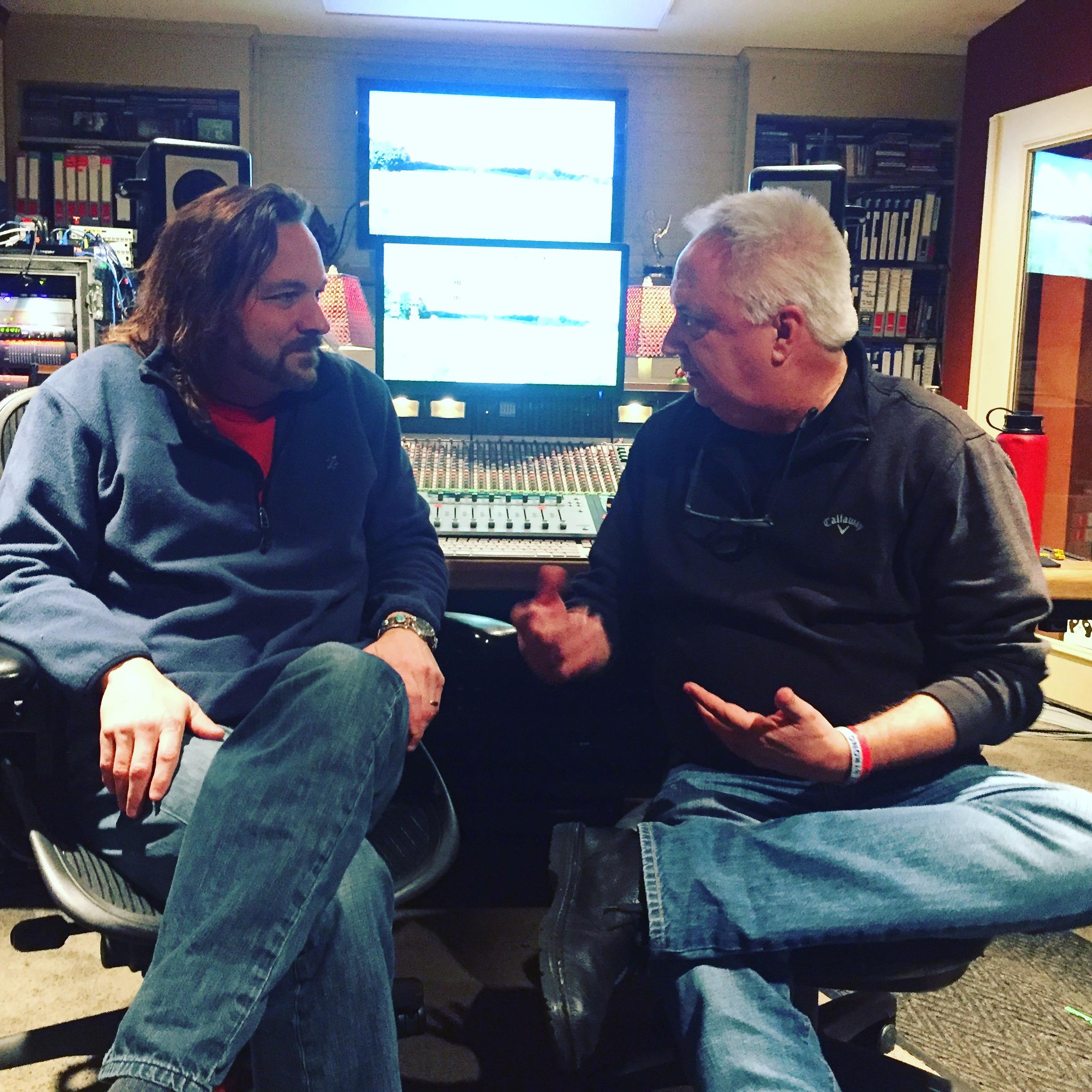 Caption: Mills Logan and Brick Briscoe at Logan's studio in Nashville