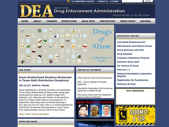 Caption: The website of the DEA., Credit: DEA