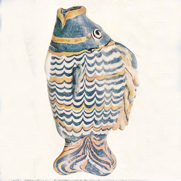 "Caption: ""Polychrome Vase in the Form of a Fish"" British Museum Postcard El-Amarma, XVIIIth Dynasty, (c. 1365 BC) Glass. 1.2 3/4? , Credit: The British Museum, London"