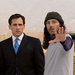Caption: Steve Carell and Tom Shadyac on the set