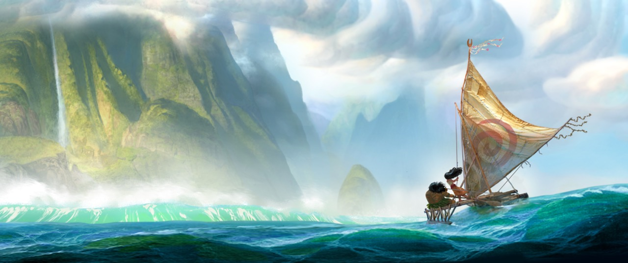 Caption: Moana and Maui sail toward land in this concept drawing for the movie, Credit: Walt Disney Studios