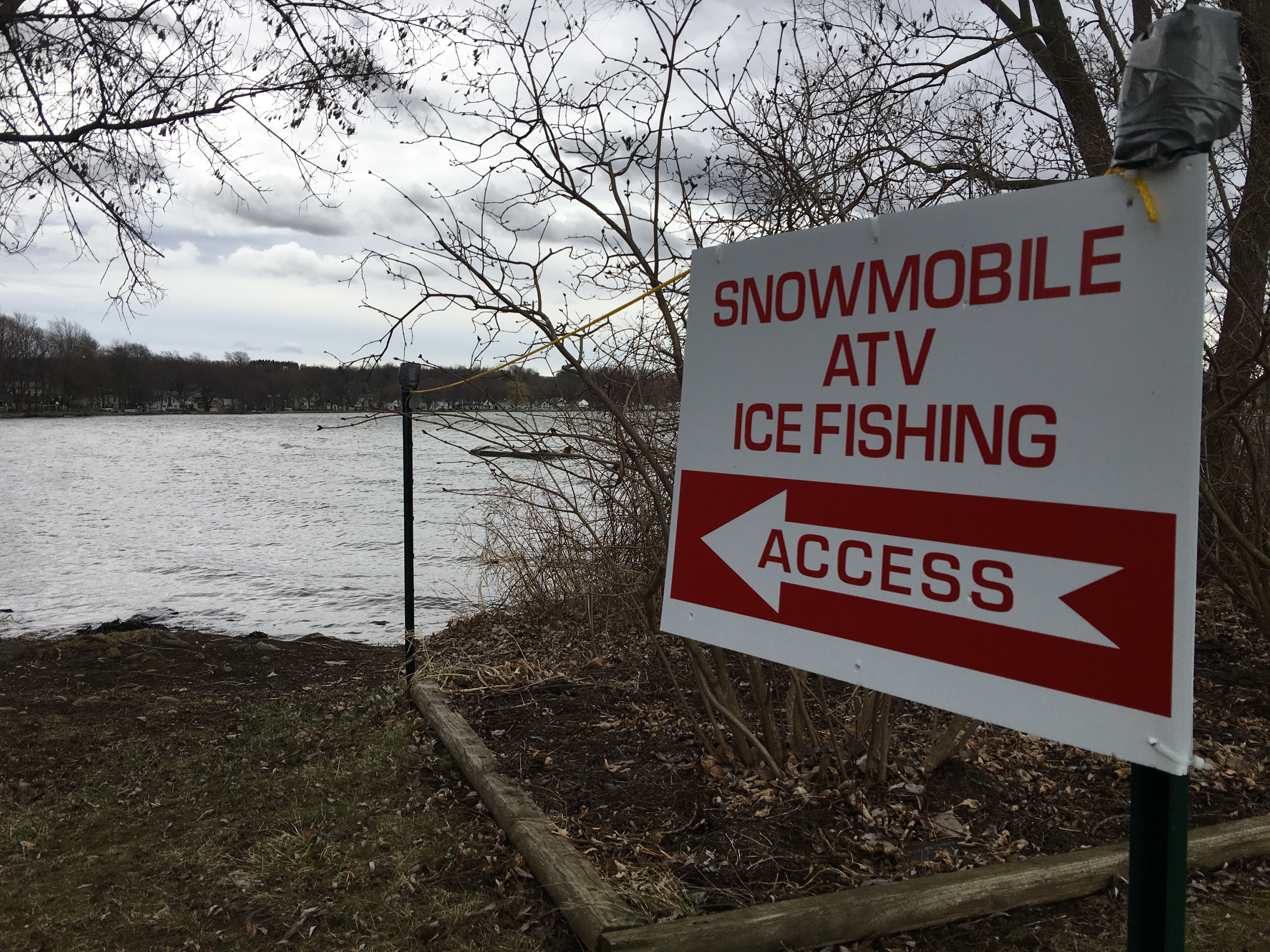 Caption: A sign on Conesus Lake directs sportsmen to an access point., Credit: Veronica Volk