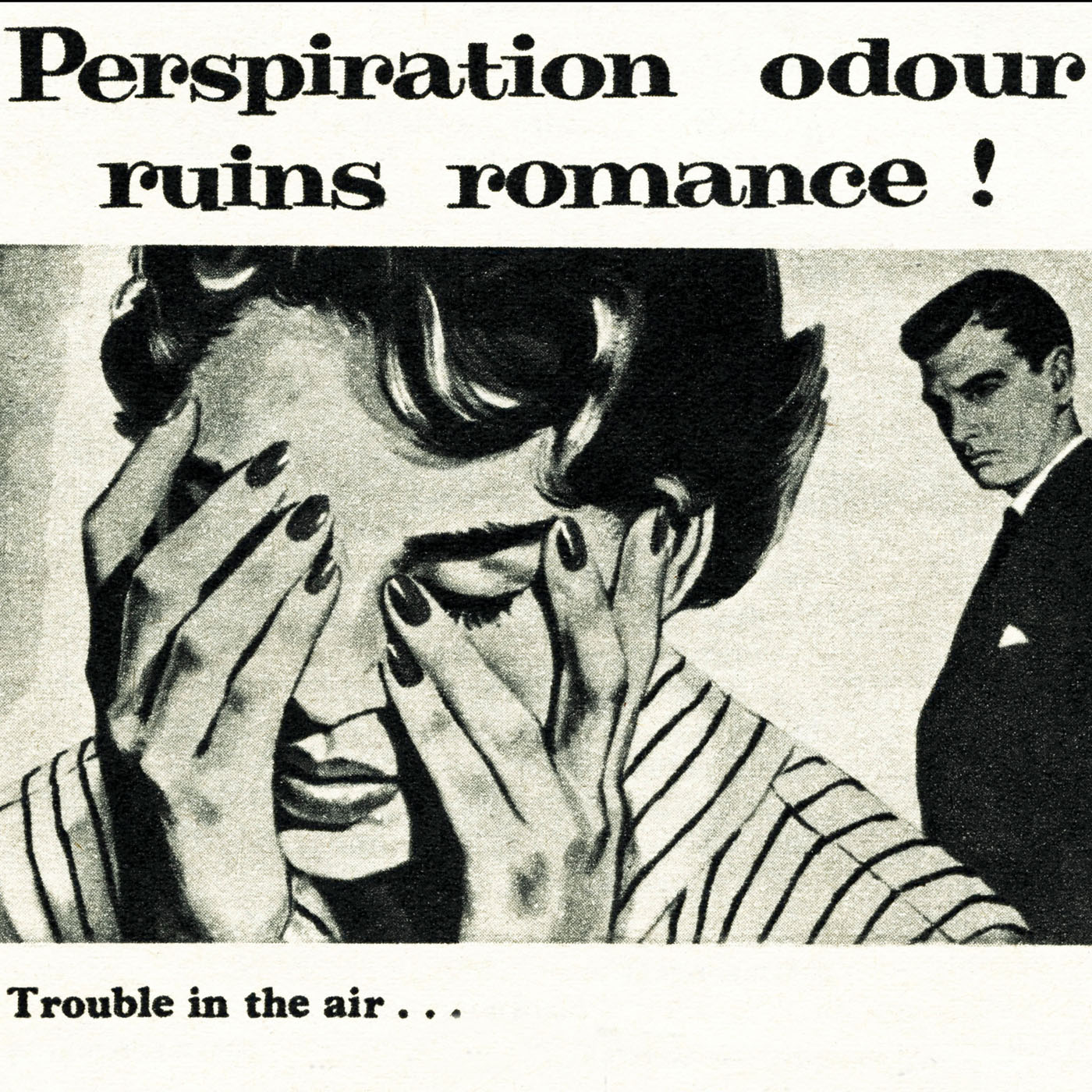 Caption: 1950s advertising. Vintage original magazine advertisement advert for MUM perspiration cream for women, Credit: f8 archive / Alamy Stock Photo
