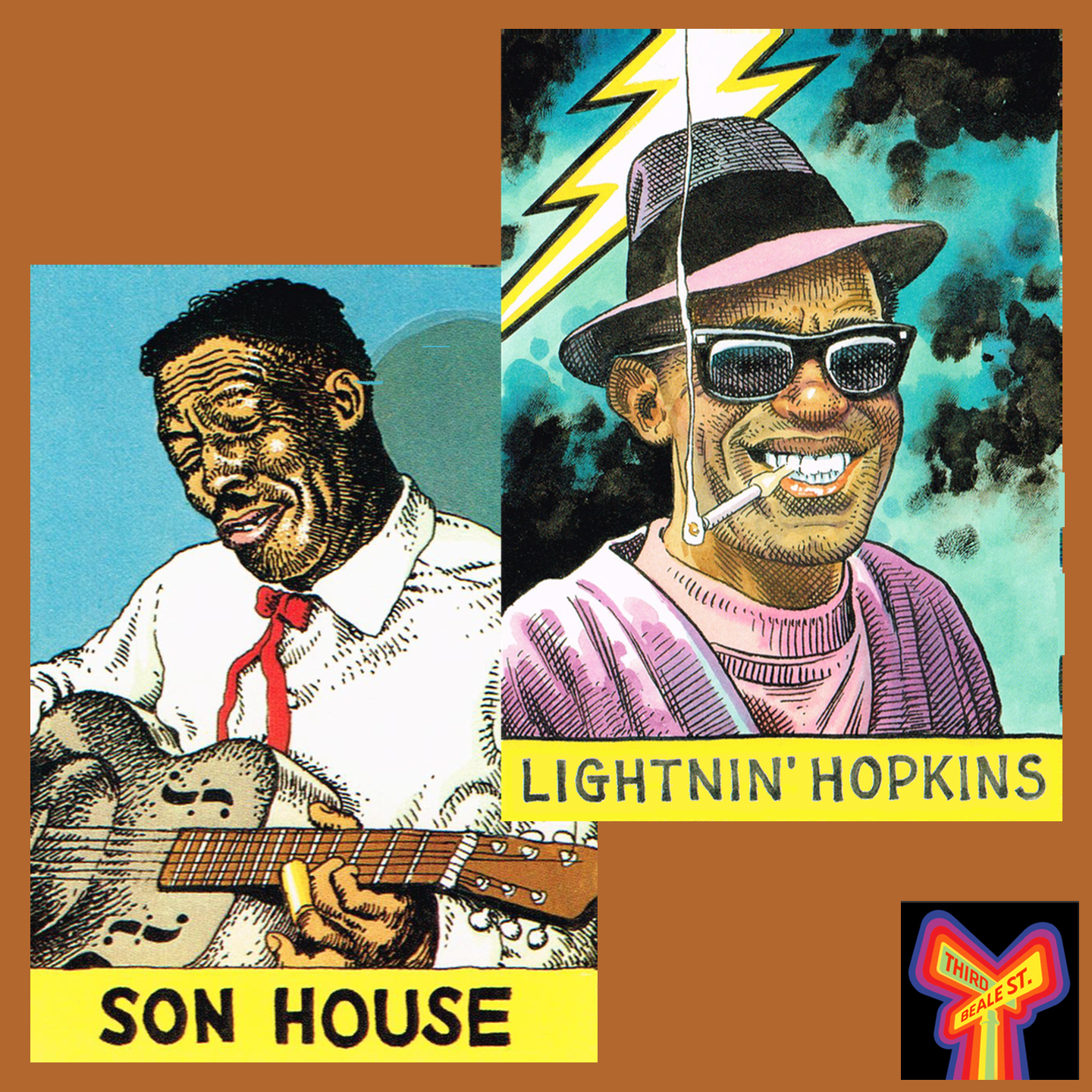 Caption: Illustration of Son House by R. Crumb; Lightnin' Hopkins by William Stout.