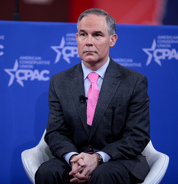 Caption: Former Oklahoma governor Scott Pruitt, current administrator of the EPA and noted enemy of the environment, sits up onstage at the 2015 Conservative Political Action Committee (CPAC) Conference. , Credit: Gage Skidmore/Flickr