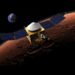 Caption: Artist's concept of MAVEN orbiting Mars with Earth in the background (not to scale!), Credit: NASA/GSFC