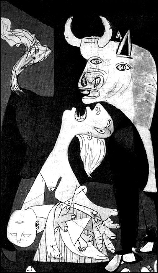 Caption: Detail from Picasso's Gernika (Guernica)