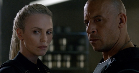 Caption: Charlize Theron and Vin Diesel in 'The Fate of the Furious'