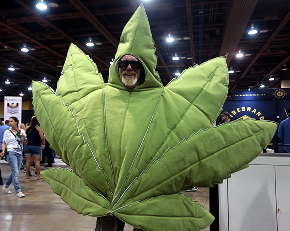 Caption: A guy dressed up as a large marijuana leaf stands on the floor of some convention., Credit: Gage Skidmore/Flickr