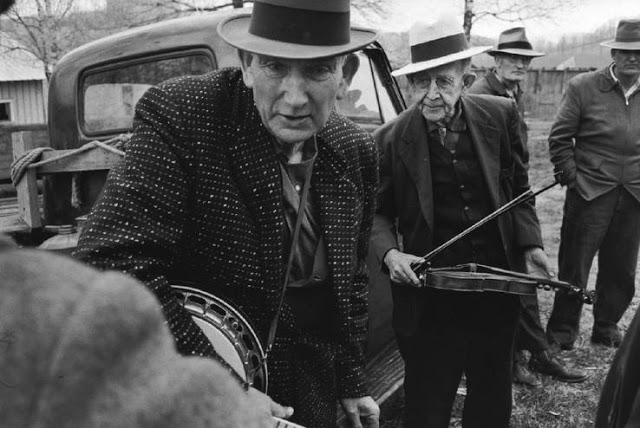 Caption: Wade Ward (l.) and Charlie Higgins were two of the most revered old time musicians from the southwest of Virginia in and around the town of Galax.  We hear from them and others in a program focusing on Virginia traditional musicians.   , Credit: John Cohen