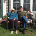 Caption: Frannie and Steve sitting on the front lawn, Spring 2017., Credit: Photo by Justine Yan