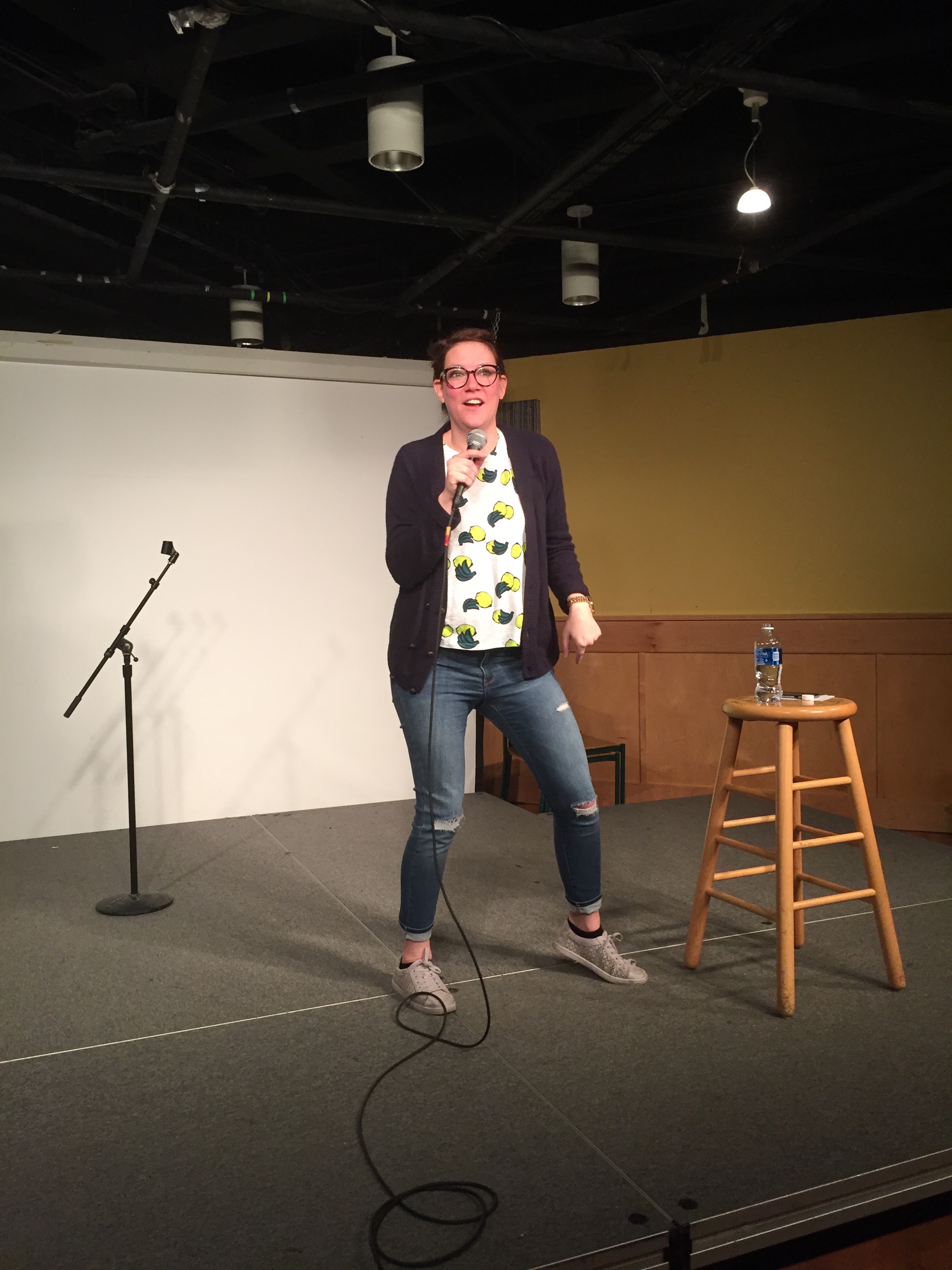 Caption: Following the election, L.A.-based comic Sara Schaefer travels to colleges across the U.S., where she's trying out some politically charged material. Here she is performing at the Rensselaer Polytechnic Institute in Troy, NY, Credit: Rohan Venkatesh