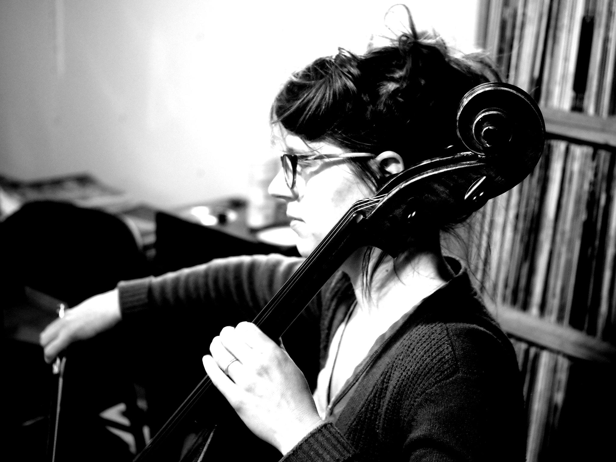 Caption: Cellist Christa Schneider of Skeleton Crew., Credit: Julie Sweet