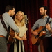 Caption: Chris, Aoife and Julian together on the WoodSongs Stage.