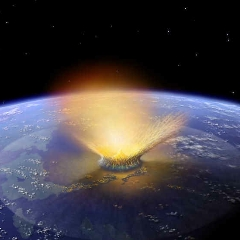 Caption: Artist concept of massive asteroid impact, Credit: NASA