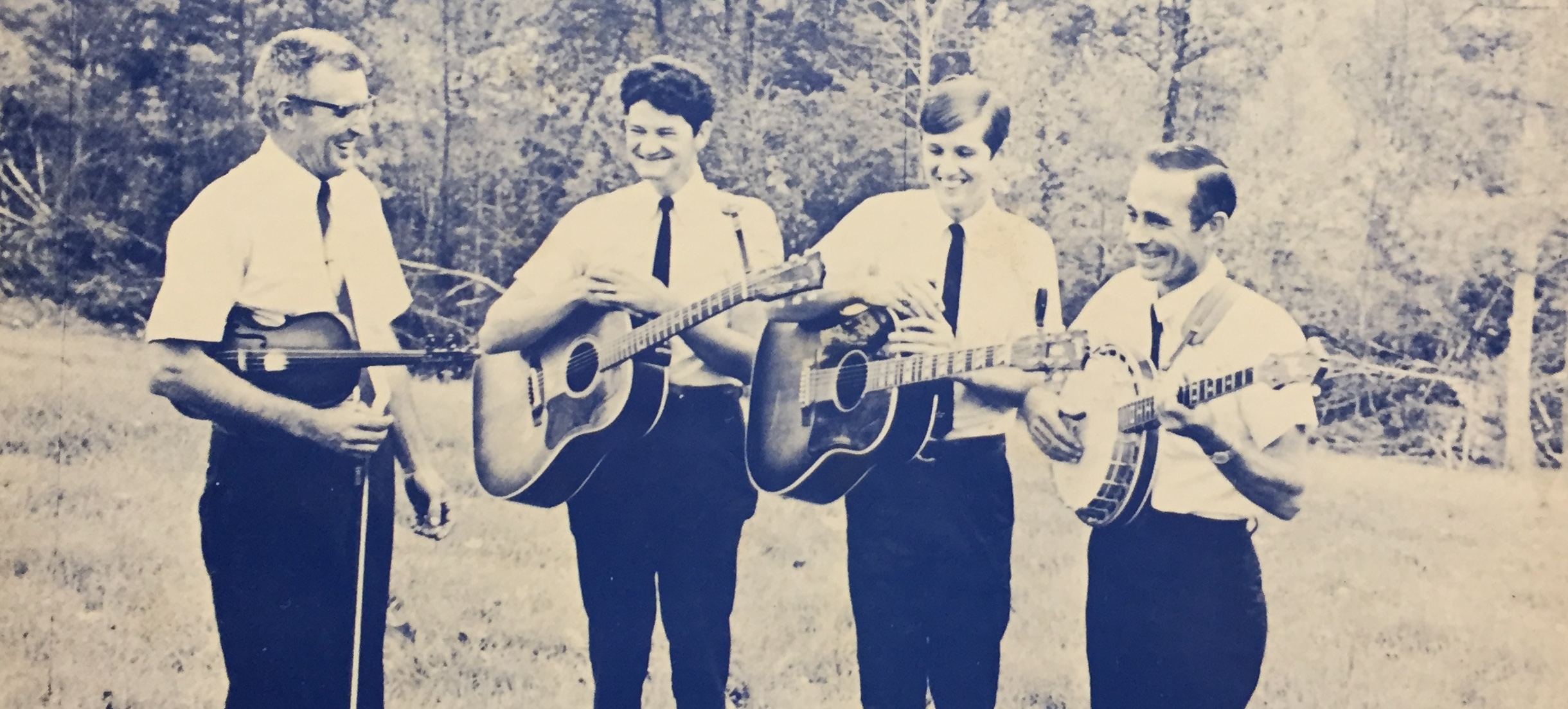 Caption: Earnest East (far left) is one of the featured musicians on this Across the Blue Ridge episode. The award-wining Surry County, NC player (1916-2000) was widely known, with his band The Pine Ridge Boys (L-R Earnest East, Mac Snow, Scotty East, Gilmer Woodr, Credit: Paul Brown Collection