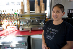 Caption: Gloria Sauceda and her husband Armando own Gloria's Espresso in Madras. They have noticed a drop in income as the economy has slowed down.