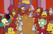 Caption: Homer Simpson and his fellow secret society members toast each other with large beer mugs around a table., Credit: Matt Groening/Gracie Films