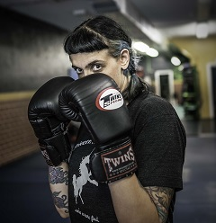 Caption: Aurora Raiten, fighter at American Muy Thai, Credit: Wendel Patrick