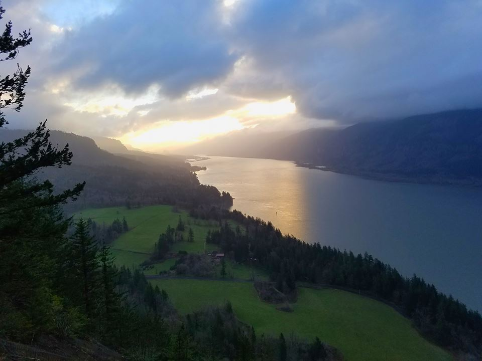 Caption: The Columbia River, as seen from the Cape Horn Trail