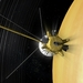 Caption: Artist concept of Cassini passing between Saturn and its rings, Credit: NASA/JPL-Caltech
