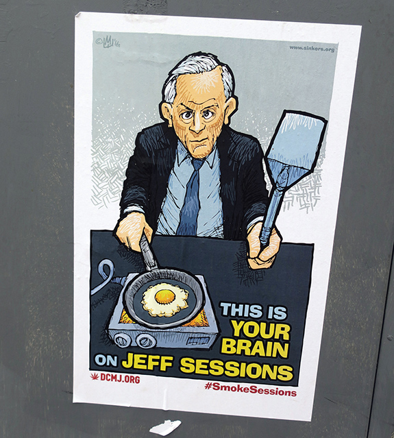 Caption: A illustrated poster shows Jeff Sessions cooking an egg with the text 'This is your brain on Jeff Sessions'., Credit: Daniel Lobo/Flickr