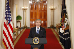 Caption: President George W. Bush delivers his farewell address to the nation Thursday evening, Jan. 15, 2009, from the East Room of the White House, thanking the American people for their support and trust.., Credit: White House photo by Chris Greenberg