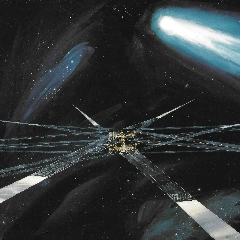 Caption: Artist concept of heliogyro solar sail for 1980s Halley's Comet mission., Credit: NASA/JPL