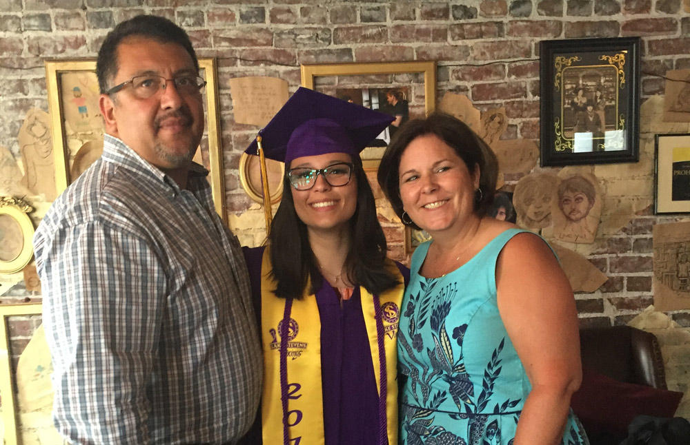 Caption: Noel Gasca poses for a graduation shot with her father, Rick Gasca, and mother, Kim Chapman., Credit: Courtesy of Noel Gasca