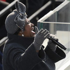 Caption: Aretha Franklin at the 2009 Inauguration, Credit: Robyn Beck/AFP