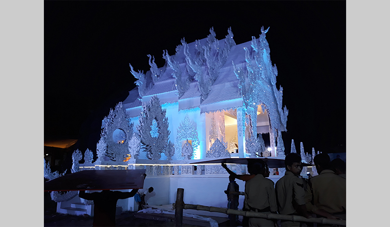 Caption: A Thai temple replica for Durga Puja, Credit: Sandip Roy