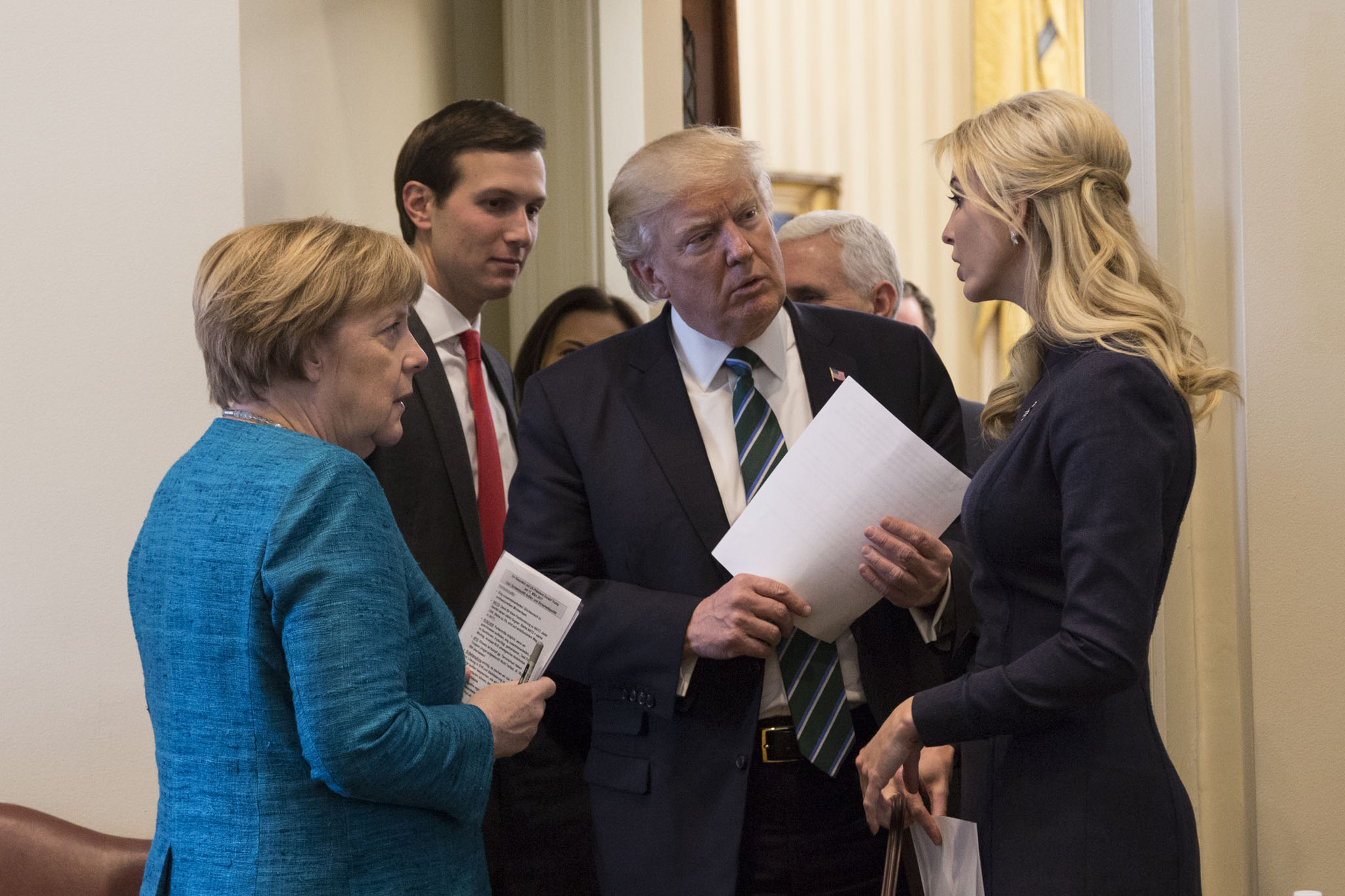 Caption: President Trump and his daughter Ivanka and son-in-law Jared Kushner, who are both Jewish, meet with German Chancellor Angela Merkel (left.), Credit: White House photo
